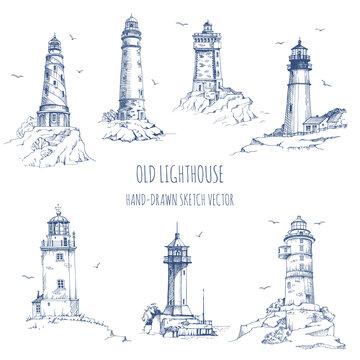 Lighthouse. Hand drawn sketch vector. Ancient architecture