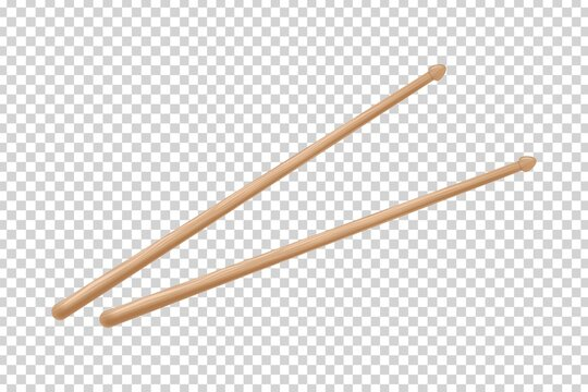 Vector realistic isolated drumsticks on the transparent background. Concept of drum playing.