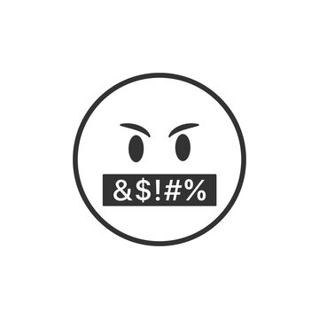 Swear emoji icon isolated on white background. Emoticon symbol modern, simple, vector, icon for website design, mobile app, ui. Vector Illustration