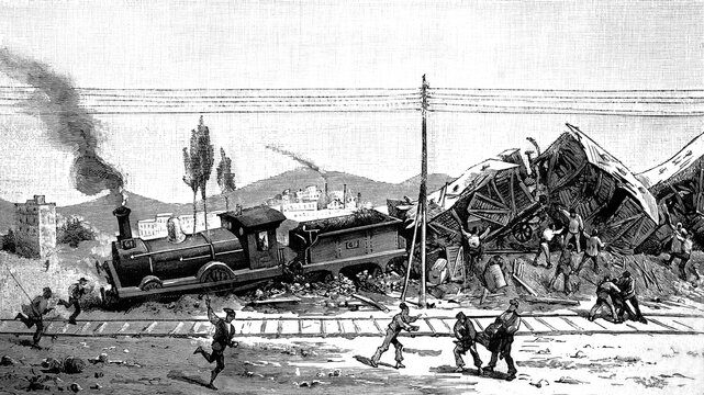 Barcelona, derailment of a passenger train on the Granollers line, with several deads and injuries, due to the carelessness of the needle guard, May 24th 1882. Antique illustration. 1882.
