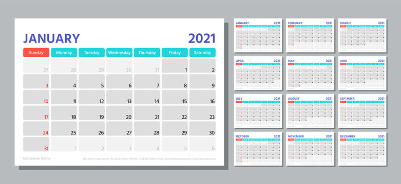 Planner 2021 year. Calendar template. Week starts Sunday. Vector. Table schedule grid. Yearly stationery organizer. Calender layout with 12 month. Horizontal monthly diary. Simple illustration.