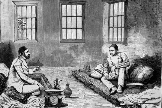 Cairo, Egypt. Arabi Pacha and Tulba-Pacha, in the prisons of the Abbassiyeh barracks. Antique illustration. 1882.