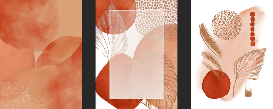 Set of watercolor geometric shapes, tropical large leaves, golden lines, dots on white background. Arrangements abstract illustration and modern print for design invitation, cover, pattern