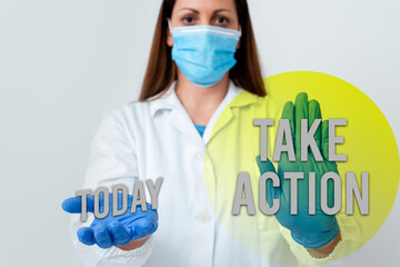 Handwriting text Take Action. Conceptual photo advices someone to do something or reaction right now Laboratory blood test sample shown for medical diagnostic analysis result