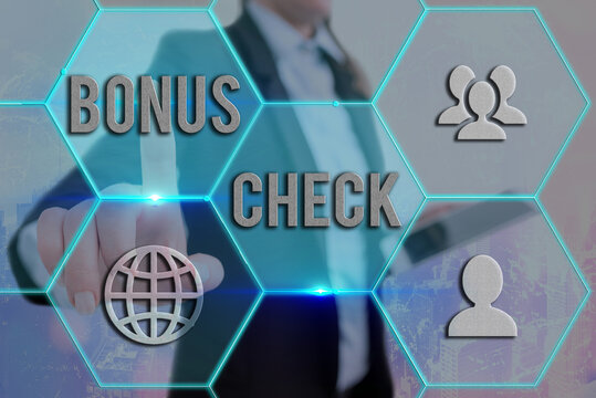 Text sign showing Bonus Check. Business photo showcasing something in addition to what is expected or strictly due Grids and different set up of the icons latest digital technology concept