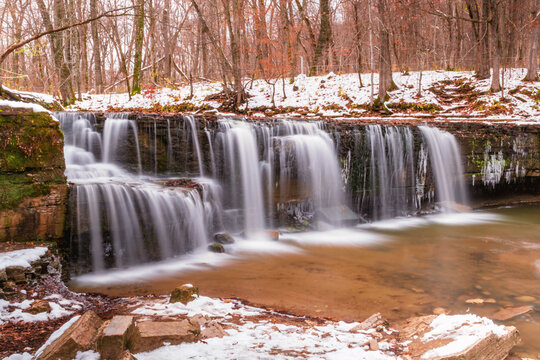 Hidden falls at Nerstrand Big Woods State Park during early winter time