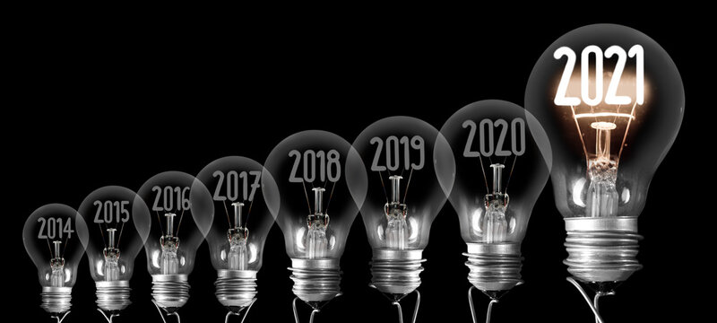 Light Bulbs with New Year 2021