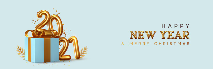 Photo sur Plexiglas Dinosaurs Happy New Year 2021. Realistic gift box Golden metal number. 3d render gold metallic sign and text letter. Celebrate party 2021. Christmas Poster, banner, cover card, brochure, flyer, layout design