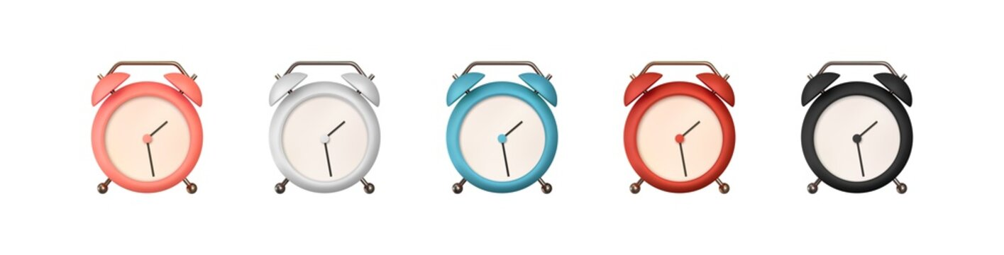 Realistic set of Table Сlock. 3d alarm clock. Classic timer time. Isolated on white background. Vector illustration