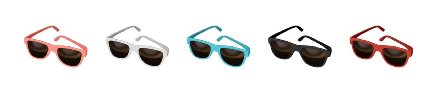 Realistic set of 3d fashion Sunglasses. Isolated on white background. Multicolored Glasses for men and women. Vector illustration.
