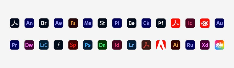 Adobe Products: Acrobat, Bridge, After Effects, Stock, Illustrator, Photoshop, InDesign, Premiere Pro, Behance, Lightroom, Creative Cloud etc. Vector illustration. Kyiv, Ukraine - October 25, 2020