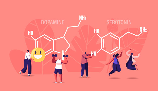 Dopamine, Serotonin Concept. People Enjoying Life near Huge Formula. Hormones Production in Organism. Characters Jumping