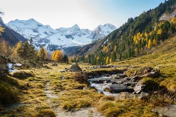 herbstliche Berglandschaft in den österreichischen Alpen mit Gletscher im Hintergrund