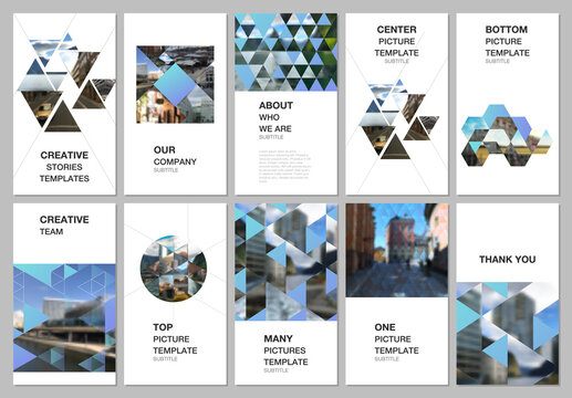 Social media design, vertical banner or flyer templates with triangles, triangular pattern. Background with place for photo. Covers design templates for flyer, leaflet, brochure cover, banner.