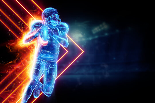 Silhouette of an American football player on fire on the background of the stadium. Concept for sports, speed, bets, American game.