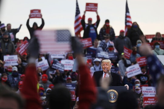 U.S. President Donald Trump holds a campaign rally in Londonderry