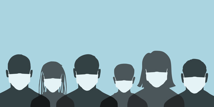 Group of people wearing a surgical masks, Crowd of people protecting themselves against pandemic epidemic infection, Vector illustration of COVID-19, New normal hygiene concept.