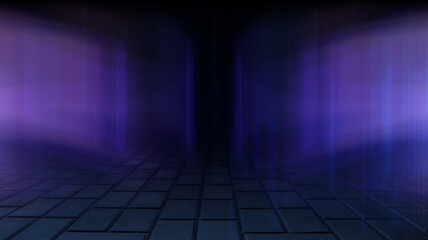 Fotomurales - Empty background scene. Dark street reflection on wet asphalt, fog. Rays of neon light in the dark, neon figures, smoke. Background of empty stage show. Abstract dark background.