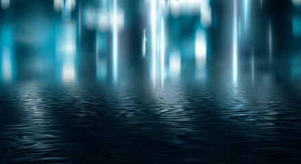 Fotomurales - Empty futuristic dramatic scene. Abstract dark landscape, street. Neon light fluid element. Night view, neon blue light. Fantasy background. 3D illustration
