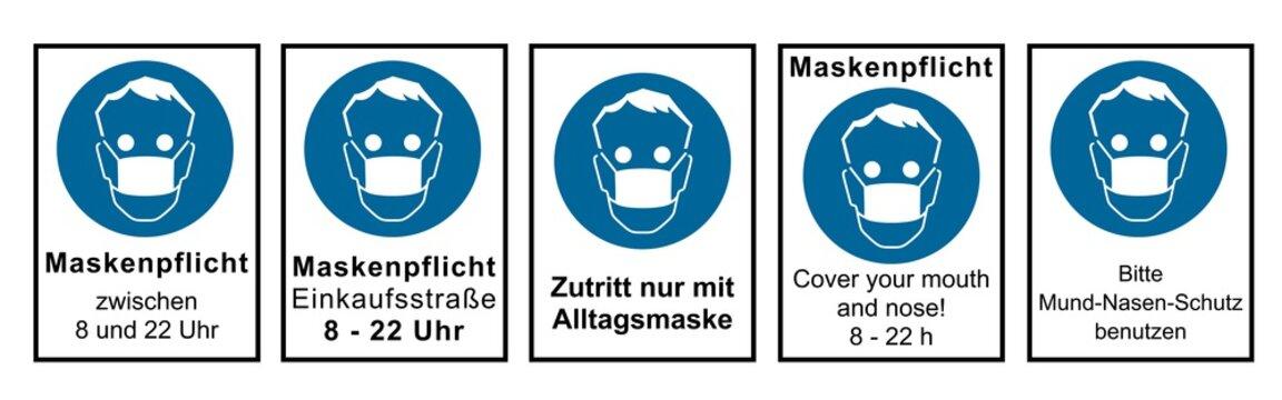 Set aus Hinweisschildern rund um die Maskenpflicht. Vektordatei