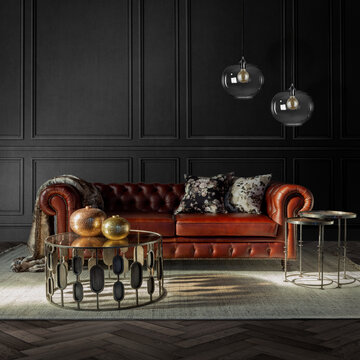 luxury moody living room with chesterfield couch