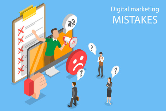 3D Isometric Flat Vector Conceptual Illustration of Digital Marketing Mistakes, Wrong Strategy, SEO Errors.