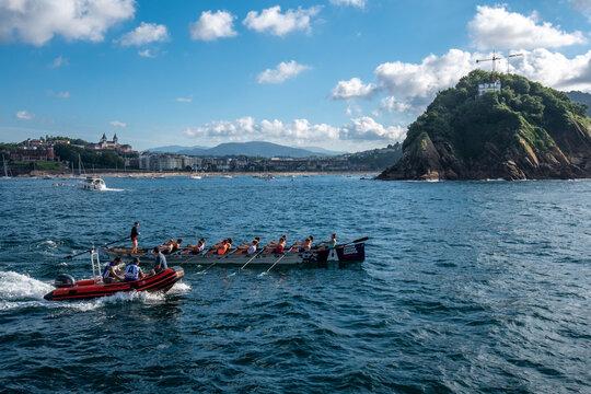 Training for traditional boat race in San Sebastian