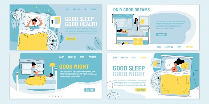Rules tips recommendation information for children better night sleep. Healthy habits. Kids falling asleep, loving parent controlling baby sweet dream, reading book. Bedtime. Landing page set