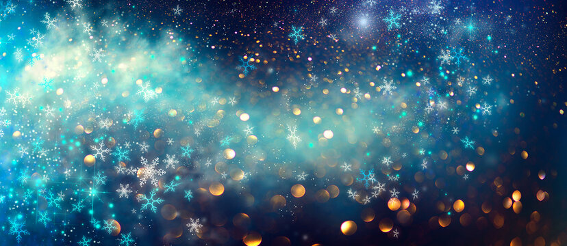 Winter Christmas and New Year background, backdrop with glowing blue stars, snowflakes, holiday garland, magic. Abstract Glitter Blinking sparks