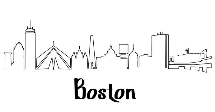 Boston skyline line drawing. Simplified drawing includes all the famous landmarks and towers. With city name.