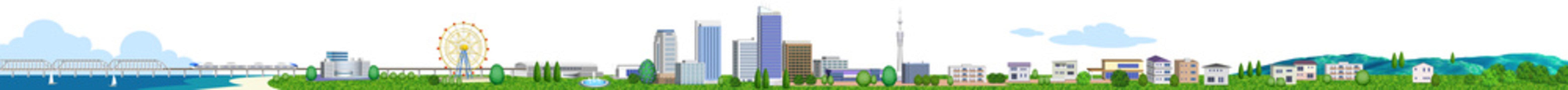住宅やビルの街並み横長 3Dイラスト