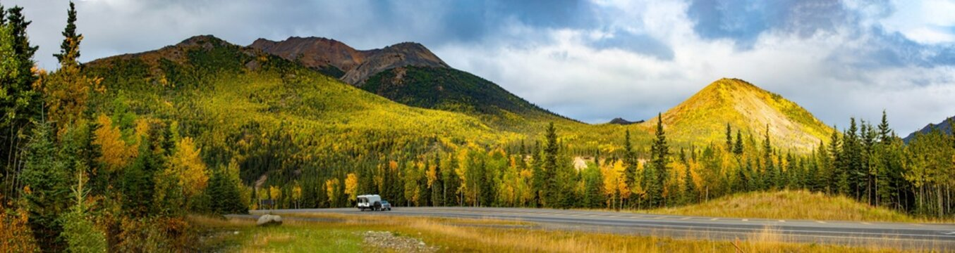 Scenic view of Camper RV driving at Denali National park road