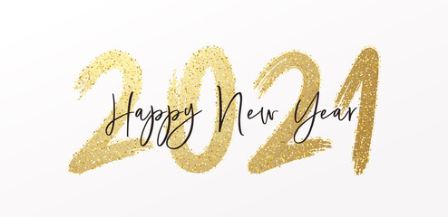Happy New Year 2021 with calligraphic and brush painted with sparkles and glitter text effect. Vector illustration background for new year's eve and new year resolutions and happy wishes