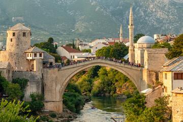 Stari Most bridge at sunset in old town of Mostar, BIH