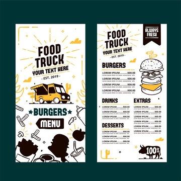 Hand drawn food truck menu template