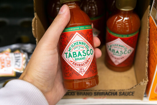 Tyumen, Russia-October 11, 2020: Tabasco brand sauce sriracha bottle of The Original Red sauce, the products in the hypermarket