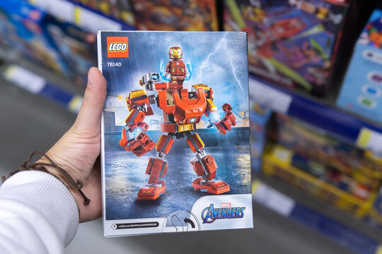 Tyumen, Russia-October 11, 2020: Marvel Avengers Lego is a line of plastic construction toys that are manufactured by The Lego Group company