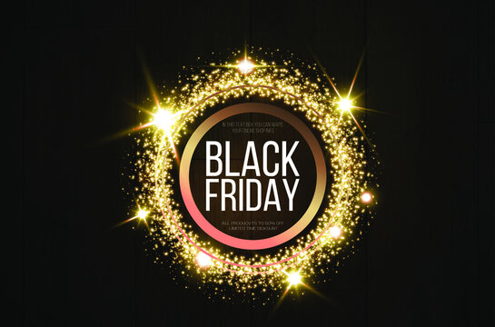 Black friday banner mockup.  A festive golden, glowing frame that is strewn with gold dust.