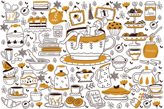 Drinking tea doodle set. Collection of hand drawn sketches patterns templates of woman drinks hot beverages coffee with cake sugar lemon and cookies. Energy drinks with caffeine outline illustration.