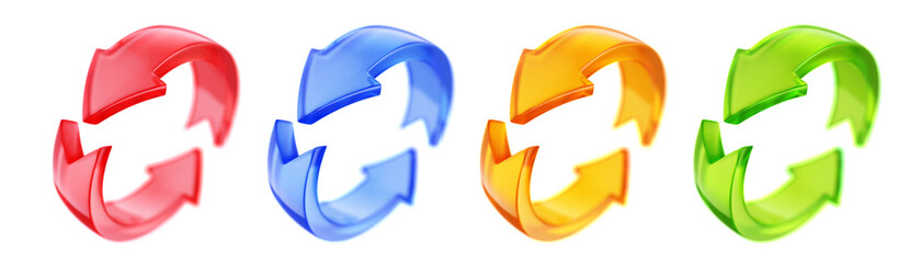 Photo sur Plexiglas Dinosaurs Rotation circle 3d arrows icon. Circled web recycling progress concept - 3d rendering