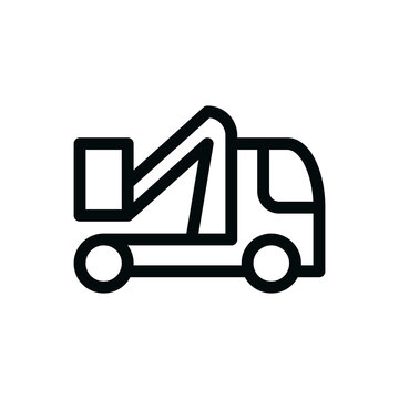 Aerial platform truck isolated icon, cherry picker truck outline vector icon with editable stroke