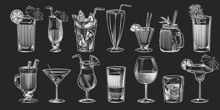 Hand drawn cocktails. Sketch cocktail set on black background chalk drawing style alcohol drink in glass for party restaurant or cafe menu pina colada and margarita vector collection