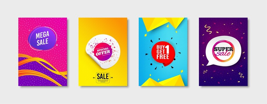Get free, Special offer and Mega sale promo label set. Sticker template layout. Super sale sign. Offer tag, Label tag, Banner shape. Discount circle. Promotional tag set. Speech bubble banner. Vector