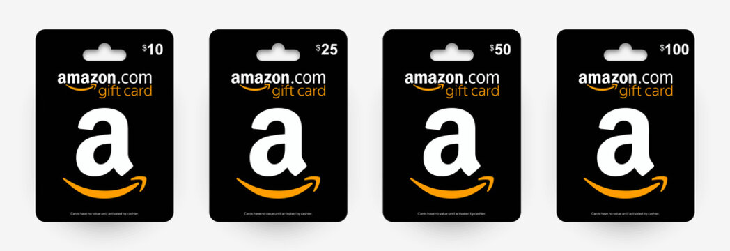 Gift card Amazon 10$, 25$, 50$, 100$. Black Amazon gift card with shadow isolated on light background. Vector illustration EPS10