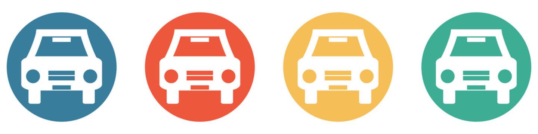 Bunter Banner mit 4 Buttons: Auto, Verkehr, Parkplatz oder Autovermietung