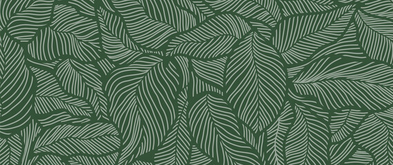 Luxury Nature green background vector. Floral pattern, Golden split-leaf Philodendron plant with monstera plant line arts, Vector illustration. Wall mural