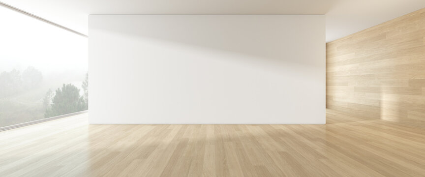 3d render of modern empty room with wooden floor and large plain wall.