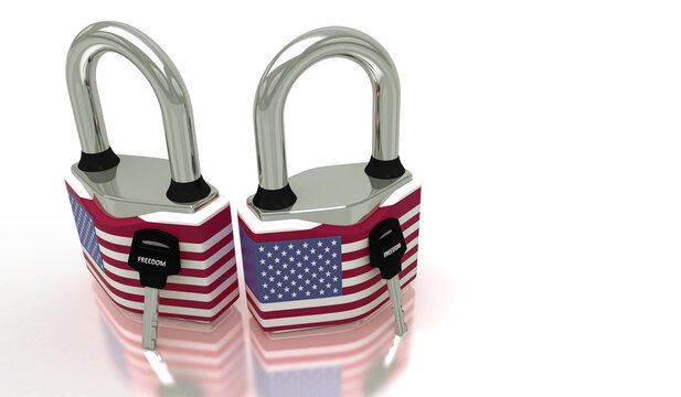 Conceptual representation of national lockdown due to covid-19, closed padlock with keys to freedom, USA, United State of America, 3d illustration, 3d rendering