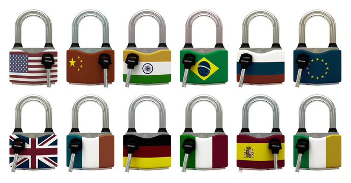 Conceptual representation of national lockdown due to covid-19, closed padlock with keys to freedom, World, EU, European Union, America, Asia, 3d illustration, 3d rendering