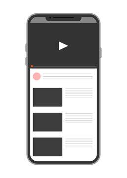 スマホに表示された動画サイト(縦向き)